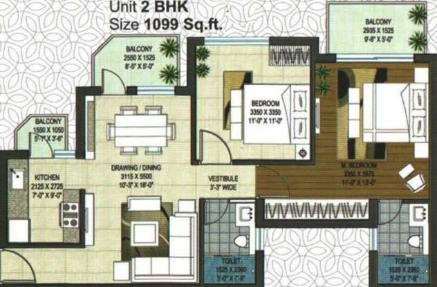 Rishita Manhattan (2BHK+2T (1,099 sq ft) Apartment 1099 sq ft)