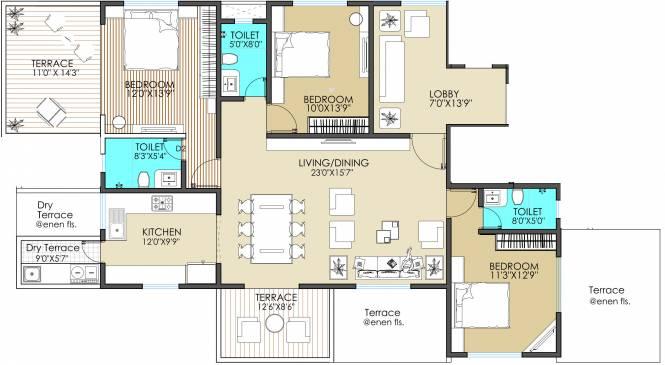 Paradigm One (3BHK+3T (2,080 sq ft) Apartment 2080 sq ft)