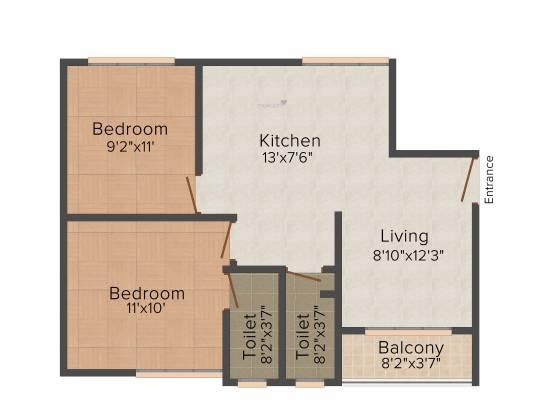 Kumar Millenium (2BHK+2T (755 sq ft) Apartment 755 sq ft)