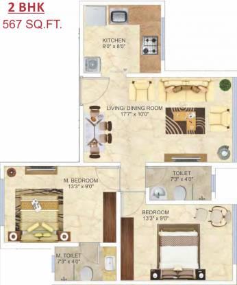 Man Aaradhya Nalanda (2BHK+2T (567 sq ft) Apartment 567 sq ft)