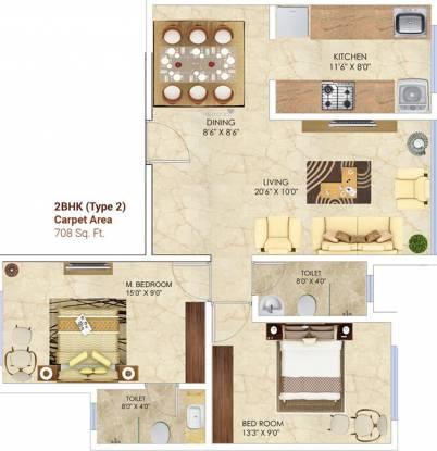 Man Aaradhya Nalanda (2BHK+2T (708 sq ft) Apartment 708 sq ft)