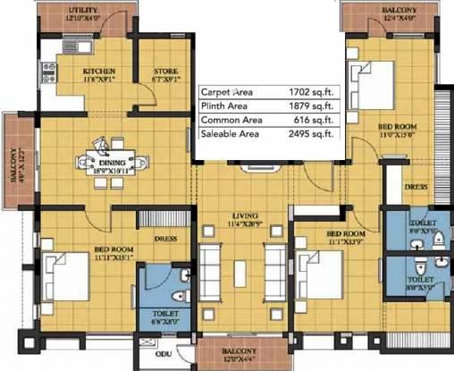 Devinarayan Sree Sarada Nivas (3BHK+3T (2,495 sq ft) Apartment 2495 sq ft)