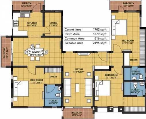 Devinarayan Sree Sarada Nivas (3BHK+3T (2,573 sq ft) Apartment 2573 sq ft)