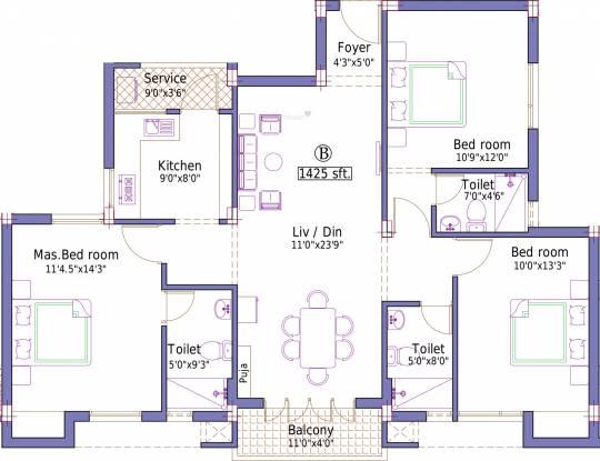 Pushkar Sai Ganu Graha (3BHK+3T (1,425 sq ft) Apartment 1425 sq ft)