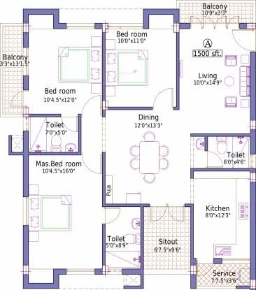 Pushkar Sai Ganu Graha (3BHK+3T (1,500 sq ft) Apartment 1500 sq ft)