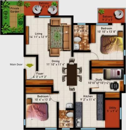 Astro Maison Douce (2BHK+2T (1,437 sq ft)   Study Room Apartment 1437 sq ft)
