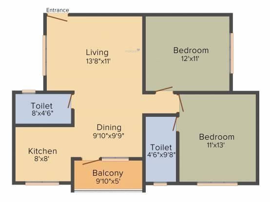 Kumari Ferns (2BHK+2T (1,070 sq ft) Apartment 1070 sq ft)