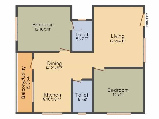 Kumari Ferns (2BHK+2T (1,090 sq ft) Apartment 1090 sq ft)