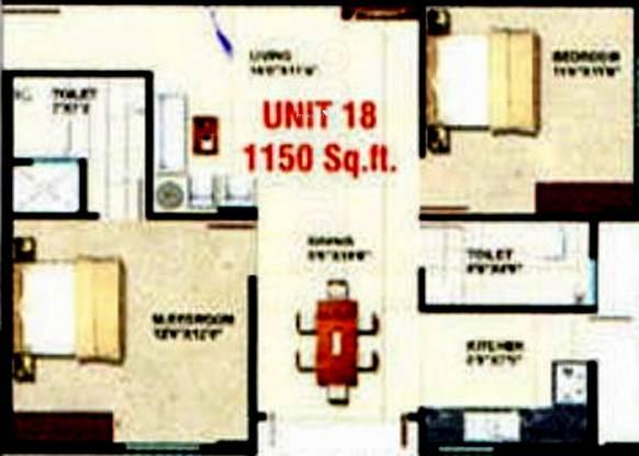 Sumukha Opal (2BHK+2T (1,150 sq ft) Apartment 1150 sq ft)
