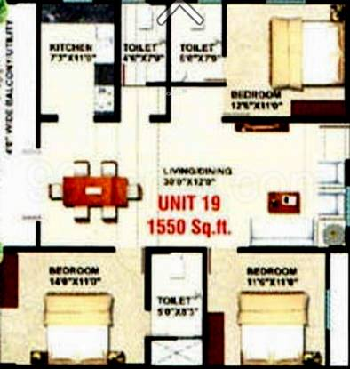 Sumukha Opal (3BHK+3T (1,550 sq ft) Apartment 1550 sq ft)