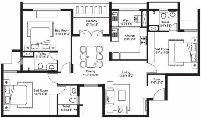 BBCL Vajra (3BHK+3T (1,846 sq ft) Apartment 1846 sq ft)