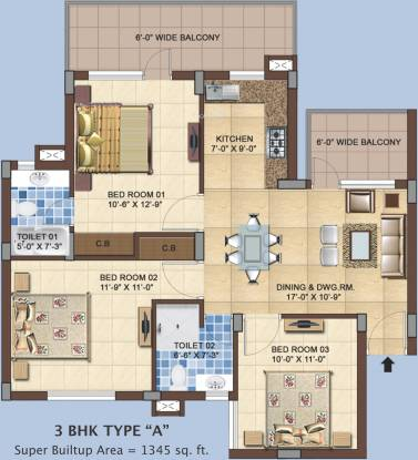 RAS Residency II (3BHK+2T (1,345 sq ft) Apartment 1345 sq ft)