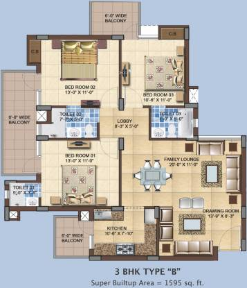 RAS Residency II (3BHK+3T (1,595 sq ft) Apartment 1595 sq ft)
