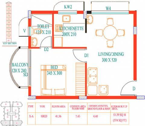 Santhi Cyber Nest (1BHK+1T (574 sq ft) Apartment 574 sq ft)