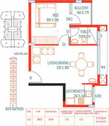 Santhi Cyber Nest (1BHK+1T (554 sq ft) Apartment 554 sq ft)