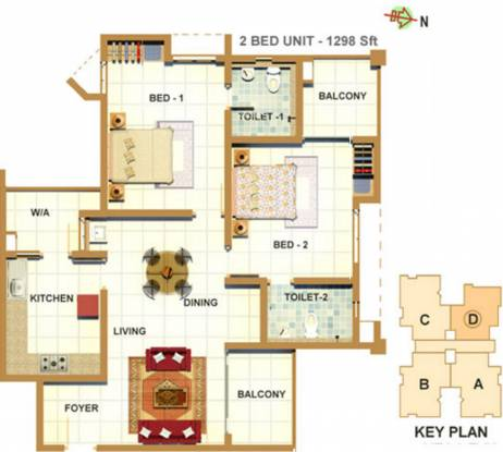 Southern Bedford Enclave (2BHK+2T (1,298 sq ft) Apartment 1298 sq ft)