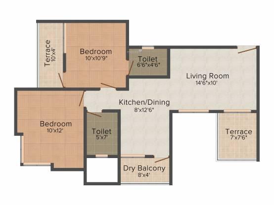 Sai Aura (2BHK+2T (920 sq ft) Apartment 920 sq ft)
