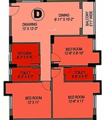 BCT Sonar Sansar (3BHK+2T (1,305 sq ft) Apartment 1305 sq ft)