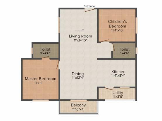 Nirmaanika Arbor (2BHK+2T (1,110 sq ft) Apartment 1110 sq ft)