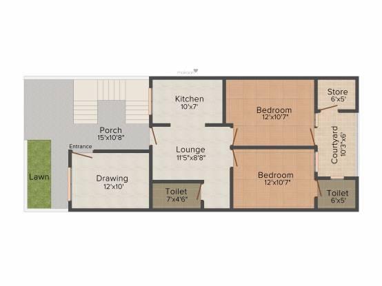 Mega Mega Estate Villas (2BHK+2T (1,100 sq ft) Villa 1100 sq ft)