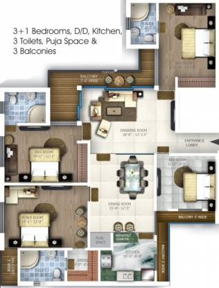 Samiah Melrose Square (4BHK+4T (2,250 sq ft) + Pooja Room Apartment 2250 sq ft)