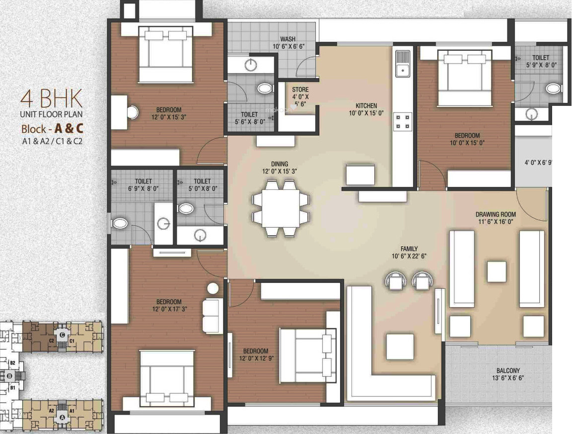 Apartment floor plans 3000 sq ft for 4 bhk apartment design