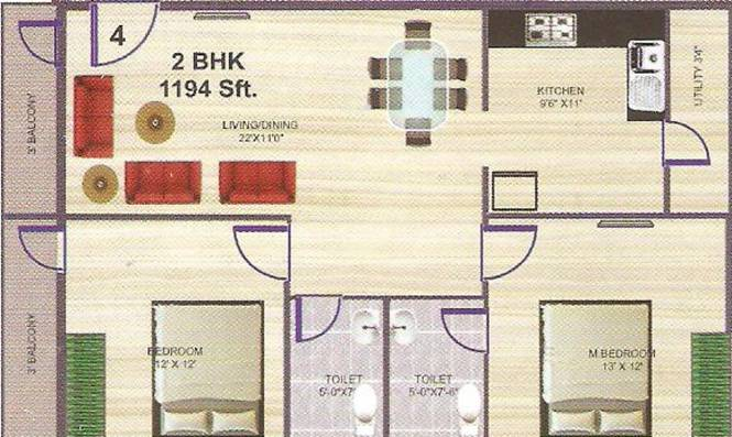 Neha Sadan (2BHK+2T (1,194 sq ft) Apartment 1194 sq ft)