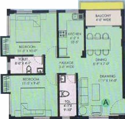 Transways Dum Dum Heights (2BHK+2T (972 sq ft) Apartment 972 sq ft)