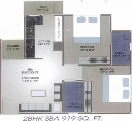 Palm Orchid Bliss (2BHK+2T (919 sq ft) Apartment 919 sq ft)