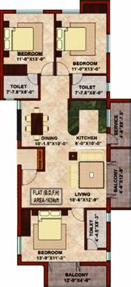 KCee Sagarika (3BHK+3T (1,624 sq ft) Apartment 1624 sq ft)