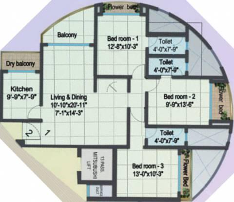 Cosmos Cosmopolis (3BHK+3T (1,540 sq ft) Apartment 1540 sq ft)