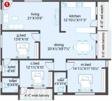 Prime Majestic (3BHK+3T (1,711 sq ft) Apartment 1711 sq ft)
