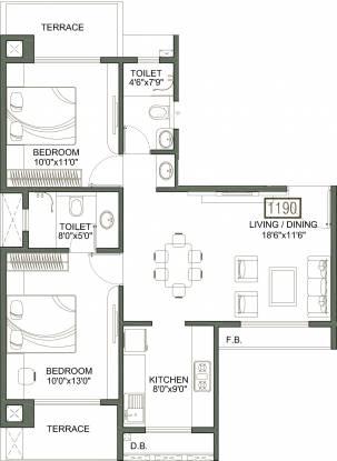 Sunny Orchid Imperia (2BHK+2T (1,190 sq ft) Apartment 1190 sq ft)