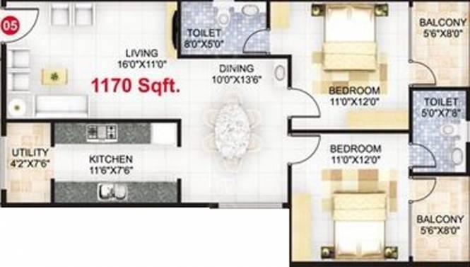 Sowmya Sankalp (2BHK+2T (1,170 sq ft) Apartment 1170 sq ft)
