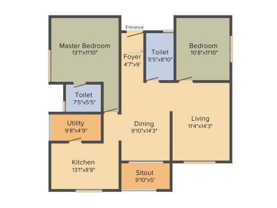 Mahaveer Sitara (2BHK+2T (1,434 sq ft) Apartment 1434 sq ft)