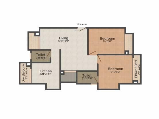 Westin Ellora Heights (2BHK+2T (1,075 sq ft) Apartment 1075 sq ft)