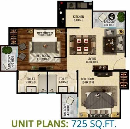 The Antriksh Eco Homes (2BHK+2T (725 sq ft) Apartment 725 sq ft)