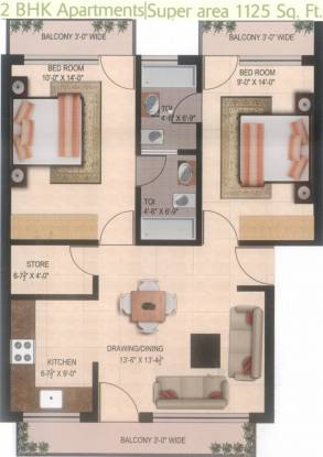 Land Homes (2BHK+2T (1,125 sq ft) Apartment 1125 sq ft)