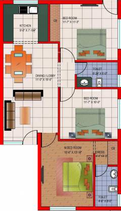 Dara Premium (3BHK+2T (1,530 sq ft) Apartment 1530 sq ft)