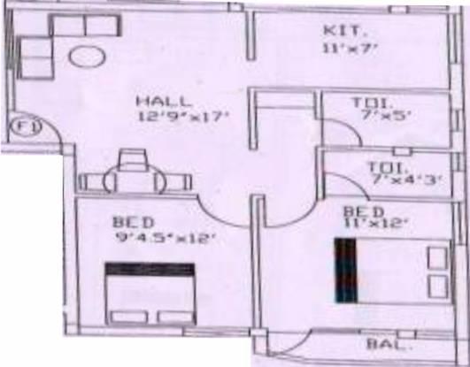Maha Danishk (2BHK+2T (850 sq ft) Apartment 850 sq ft)