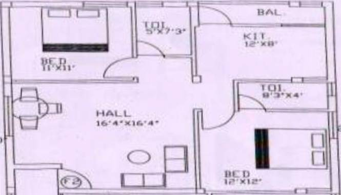 Maha Danishk (2BHK+2T (1,061 sq ft) Apartment 1061 sq ft)