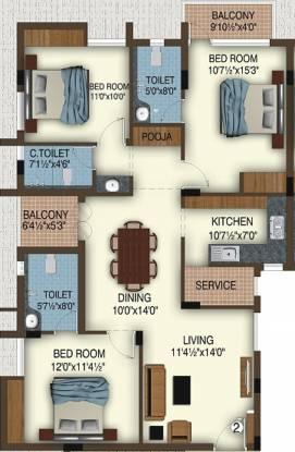 Varna Tapas (3BHK+3T (1,480 sq ft) + Pooja Room Apartment 1480 sq ft)