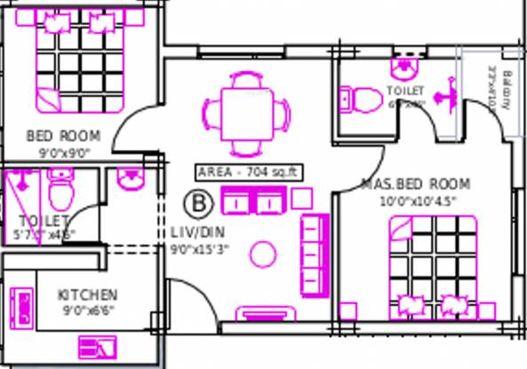 Priams Srisailam (2BHK+2T (704 sq ft) Apartment 704 sq ft)