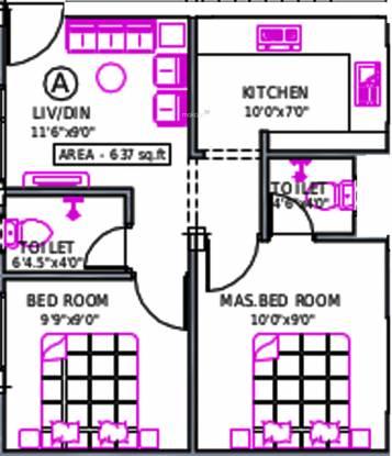 Priams Srisailam (2BHK+2T (637 sq ft) Apartment 637 sq ft)
