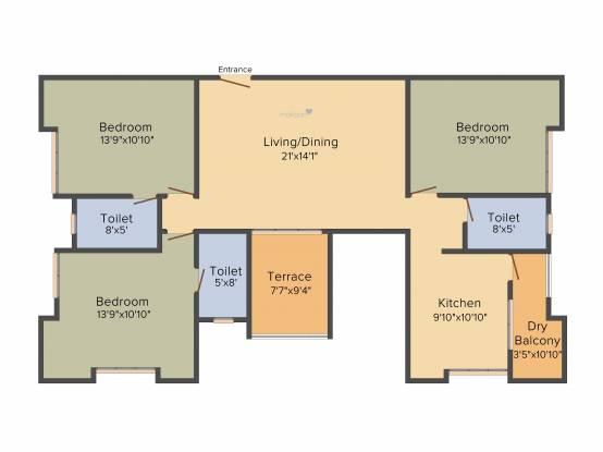 Suyog Crystal (3BHK+3T (1,590 sq ft) Apartment 1590 sq ft)