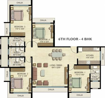 Shubham Trident Sundew Sunrise And Sunglow (4BHK+4T (2,410 sq ft) Apartment 2410 sq ft)