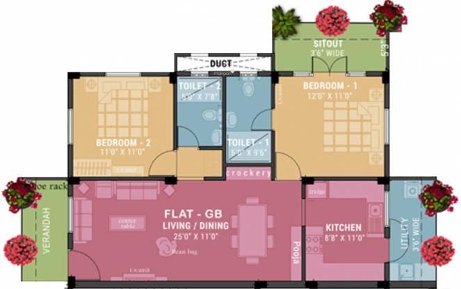 Ramaniyam Sukriti (2BHK+2T (1,126 sq ft) Apartment 1126 sq ft)