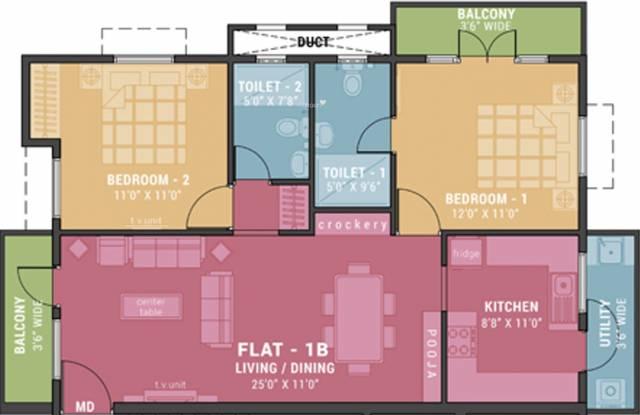Ramaniyam Sukriti (2BHK+2T (1,141 sq ft) Apartment 1141 sq ft)