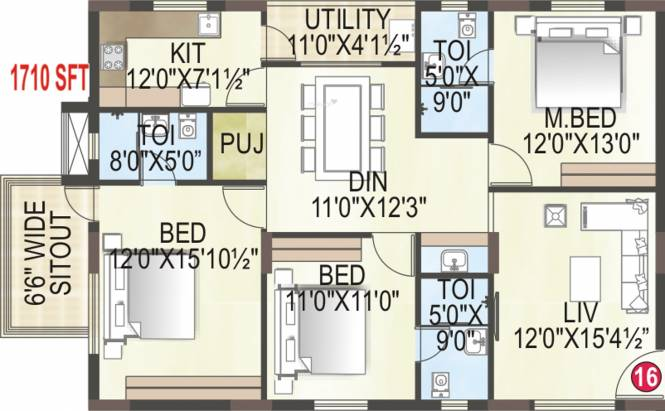 MK Builders and Developers Gold Coast (3BHK+3T (1,710 sq ft) + Pooja Room Apartment 1710 sq ft)