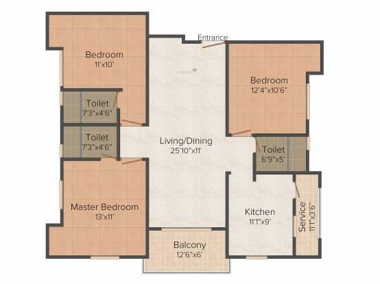 Gayatri Wood Crest (3BHK+3T (1,390 sq ft) Apartment 1390 sq ft)